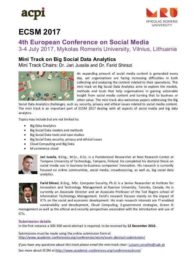 ECSM 2017 4th European Conference on Social Media 3-4 July 2017, Mykolas Romeris University, Vilnius, Lithuania Mini T...