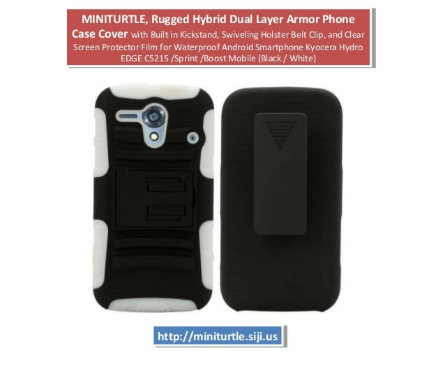 MINITURTLE, Rugged Hybrid Dual Layer Armor Phone Case Cover with Built in Kickstand, Swiveling Holster Belt Clip, and Clea...