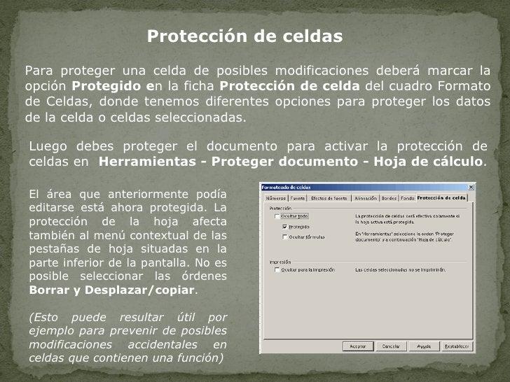 Protección de celdas   Para proteger una celda de posibles modificaciones deberá marcar la opción  Protegido e n la ficha ...