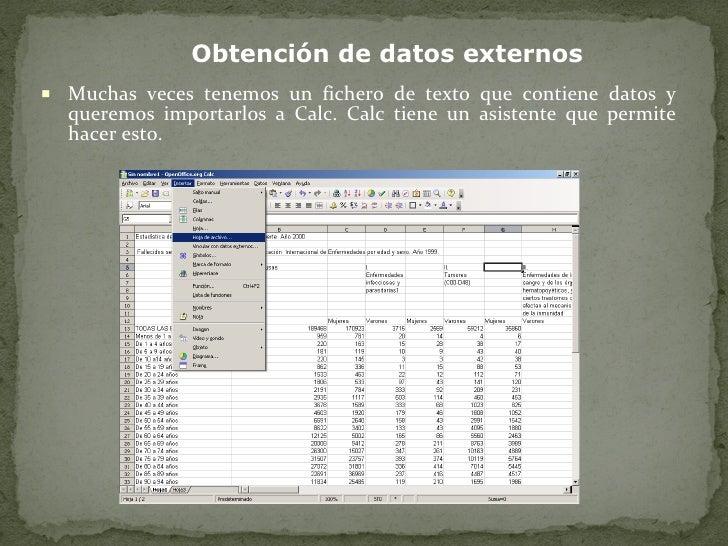 <ul><li>Muchas veces tenemos un fichero de texto que contiene datos y queremos importarlos a Calc. Calc tiene un asistente...