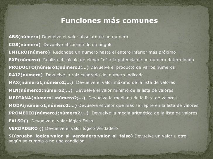 Funciones más comunes ABS(número)  Devuelve el valor absoluto de un número  COS(número)   Devuelve el coseno de un ángulo ...