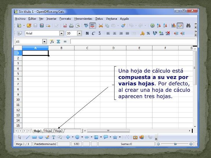 Una hoja de cálculo está  compuesta a su vez por varias hojas . Por defecto, al crear una hoja de cáculo aparecen tres hoj...