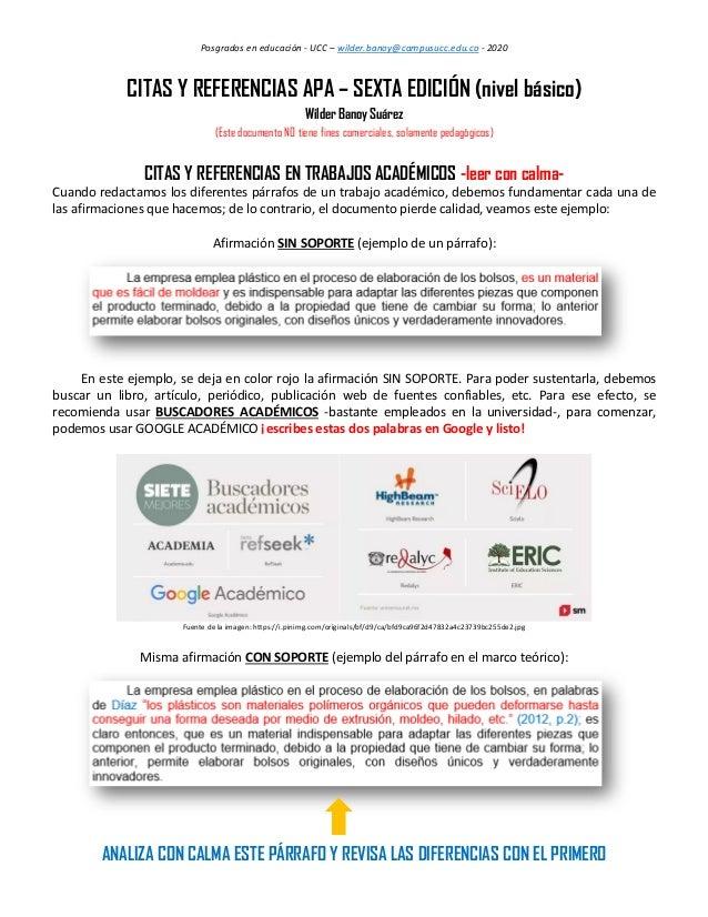 Posgrados en educación - UCC – wilder.banoy@campusucc.edu.co - 2020 CITAS Y REFERENCIAS APA – SEXTA EDICIÓN (nivel básico)...