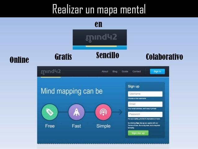 Realizar un mapa mental                   en         Gratis    Sencillo    ColaborativoOnline