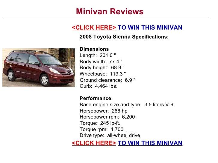 Toyota Sienna Dimensions >> Minivan Reviews