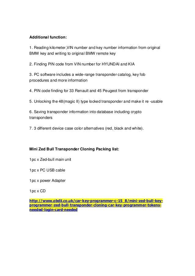 Mini Zed Bull Key Programmer Zed Bull Transponder Cloning