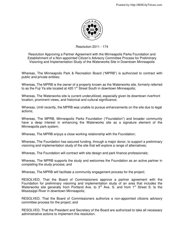 Posted by http://MillCityTimes.com                                     Resolution 2011 - 174    Resolution Approving a Par...