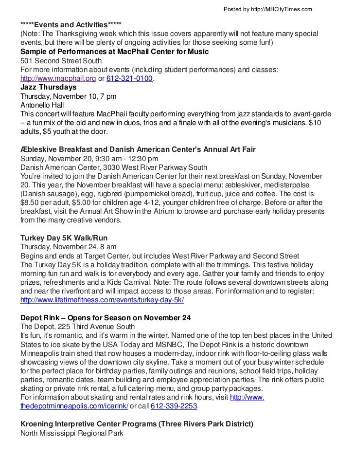 Posted by http://MillCityTimes.com*****Events and Activities*****(Note: The Thanksgiving week which this issue covers appa...