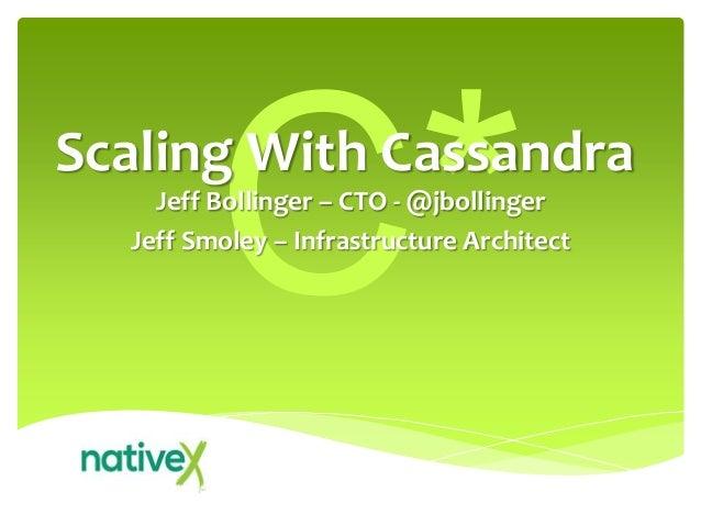 Jeff Bollinger – CTO - @jbollingerJeff Smoley – Infrastructure ArchitectScaling With Cassandra