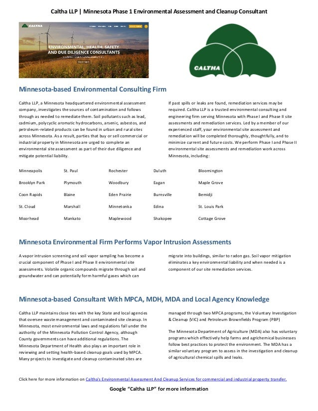 "Caltha LLP | Minnesota Phase 1 Environmental Assessment and Cleanup Consultant Google ""Caltha LLP"" for more information Mi..."