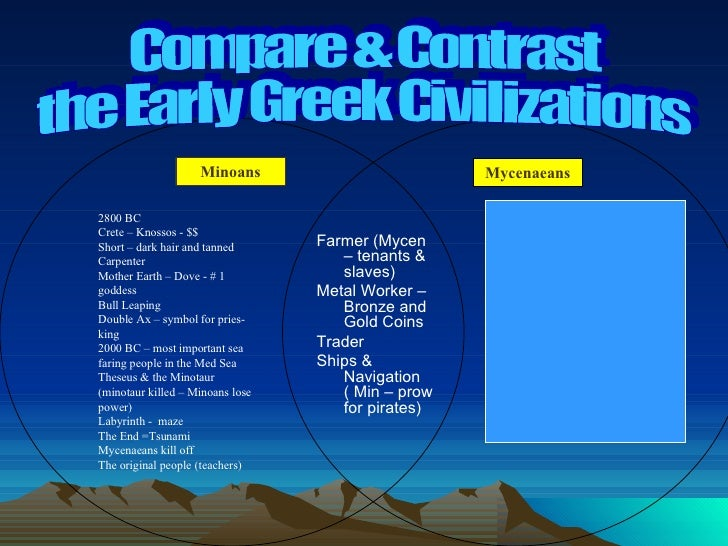 compare and contrast the minoan and mycenaean societies