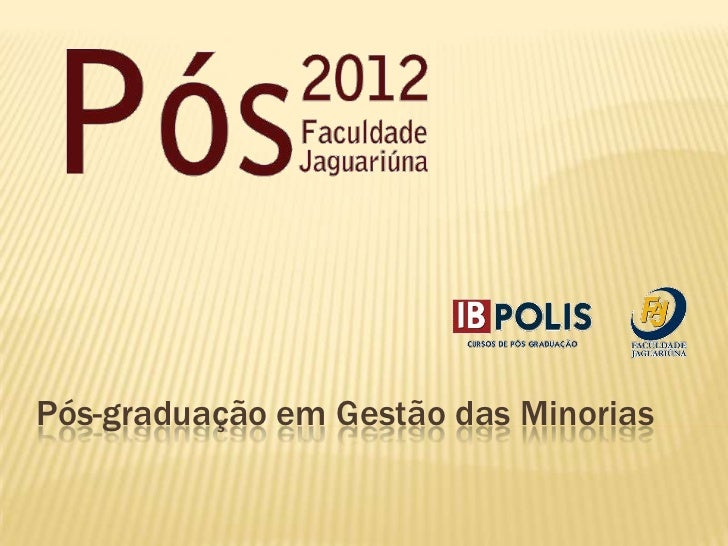 Pós-graduação em Gestão das Minorias