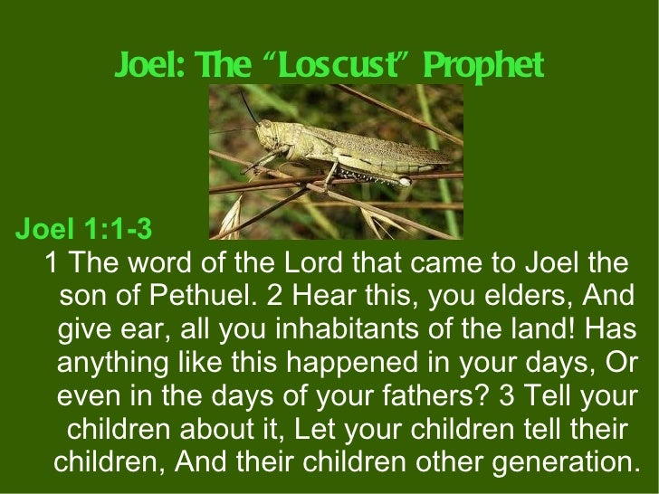 """Joel: The """"Loscust"""" ProphetJoel 1:1-3  1 The word of the Lord that came to Joel the   son of Pethuel. 2 Hear this, you eld..."""