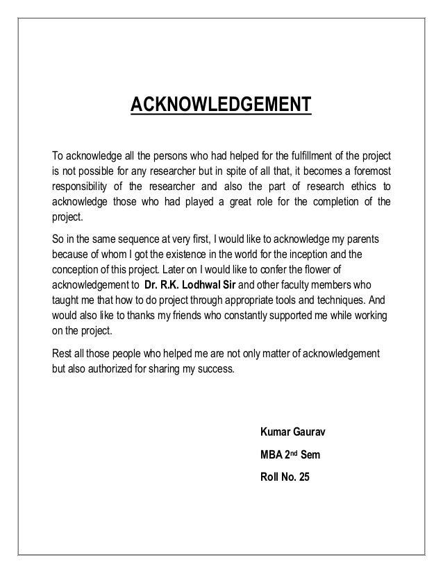 Thesis writing sample of acknowledgement for project