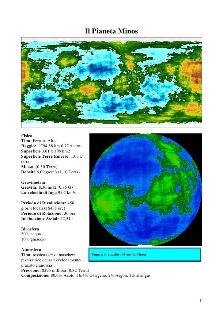 Il Pianeta MinosFisicaTipo: Ferroso Alto.Raggio: 9794,58 km 0,77 x terraSuperficie 3,01 x 108 km2Superficie Terre Emerse: ...
