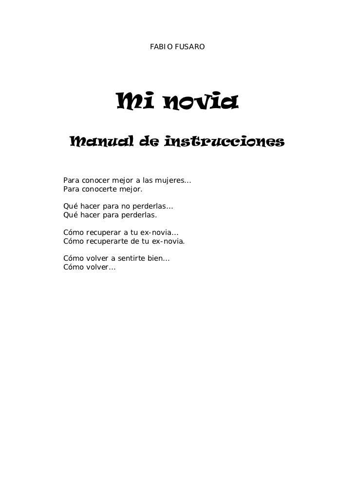 Mi Novia Manual De Instrucciones Fabio Fusaro
