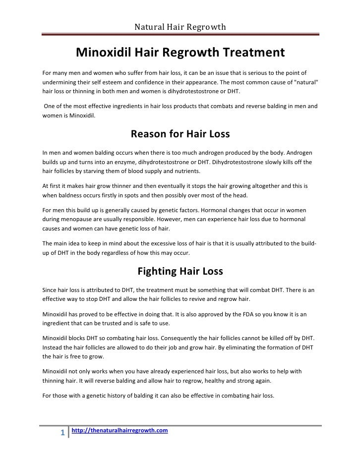 Natural Hair Regrowth               Minoxidil Hair Regrowth Treatment For many men and women who suffer from hair loss, it...