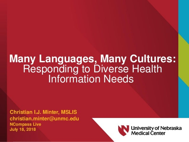 Many Languages, Many Cultures: Responding to Diverse Health Information Needs Christian I.J. Minter, MSLIS christian.minte...