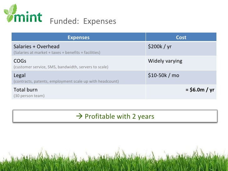 Funded:  Expenses Expenses Cost Salaries + Overhead (Salaries at market + taxes + benefits + facilities) $200k / yr COGs (...