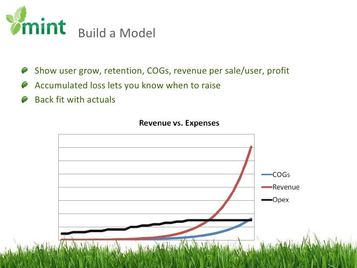 Build a Model <ul><li>Show user grow, retention, COGs, revenue per sale/user, profit </li></ul><ul><li>Accumulated loss le...