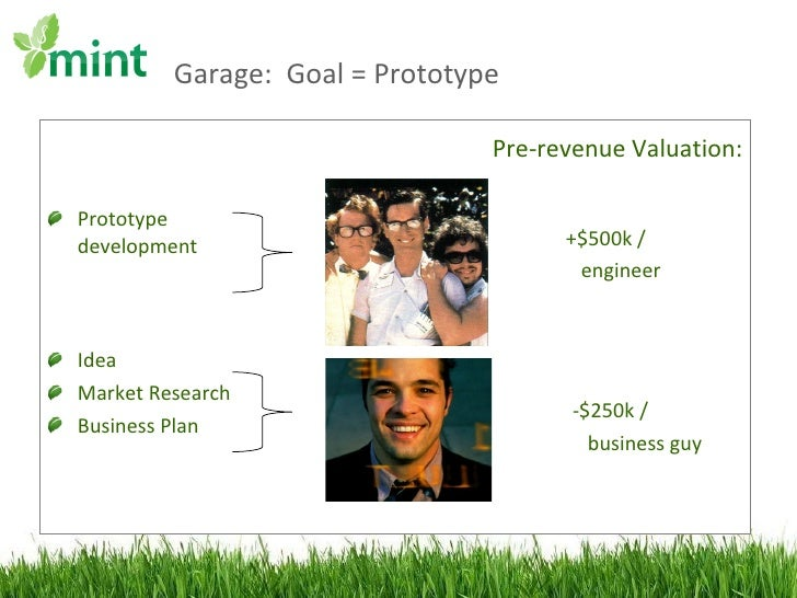 Garage:  Goal = Prototype  <ul><li>Prototype development </li></ul><ul><li>Idea </li></ul><ul><li>Market Research </li></u...
