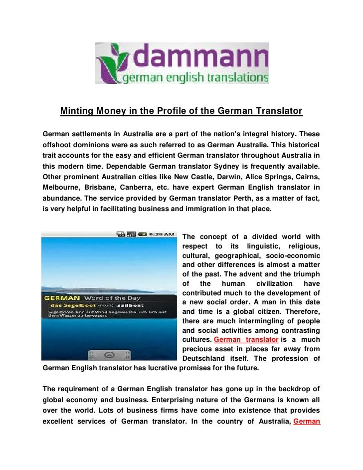 Minting Money in the Profile of the German TranslatorGerman settlements in Australia are a part of the nations integral hi...