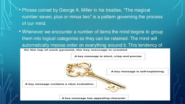 """• Phrase coined by George A. Miller in his treatise, """"The magical number seven, plus or minus two"""" is a pattern governing ..."""