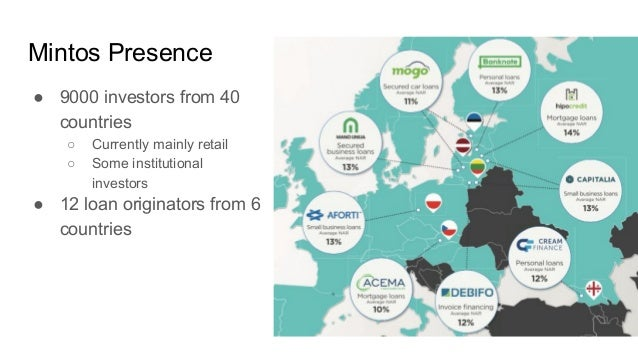 Mintos Presence ● 9000 investors from 40 countries ○ Currently mainly retail ○ Some institutional investors ● 12 loan orig...