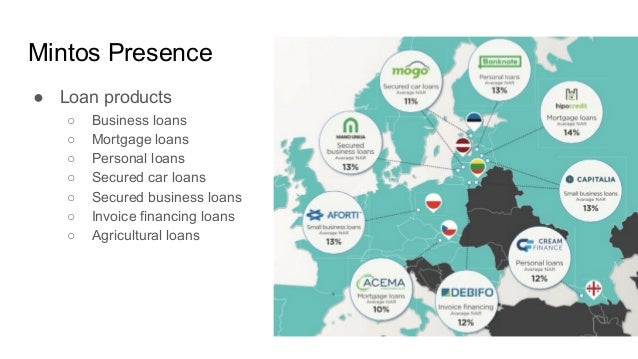 Mintos Presence ● Loan products ○ Business loans ○ Mortgage loans ○ Personal loans ○ Secured car loans ○ Secured business ...