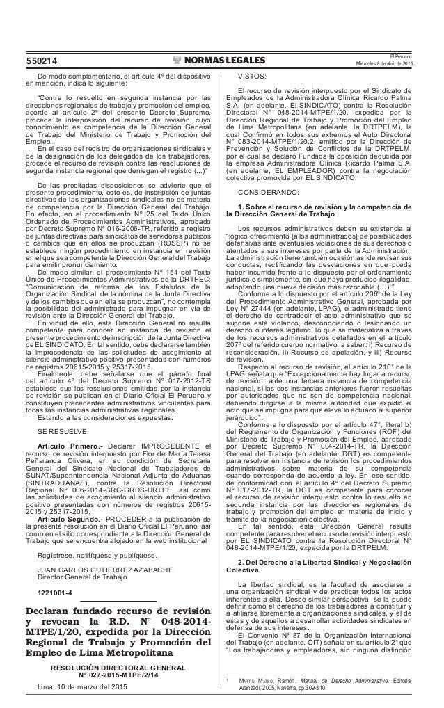 El Peruano Miércoles 8 de abril de 2015550214 De modo complementario, el artículo 4º del dispositivo en mención, indica lo...