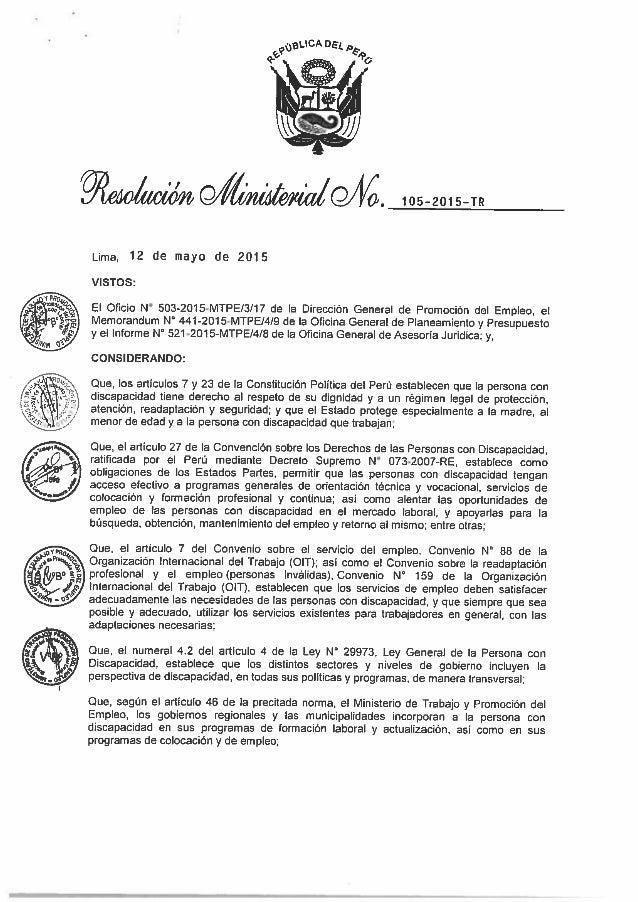105-2015-1»:      Lima,  12 de mayo de 2015  VISTOS:   El Oficio N° 5D3-2015-MTPE/3/17 de la Dirección General de Promoción...