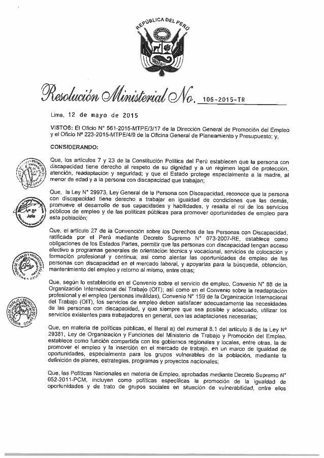 MINTRA - Resolución Ministerial N° 106-2015 - Plan de actuación para la mejora de la empleabilidad e inserción laboral de ...
