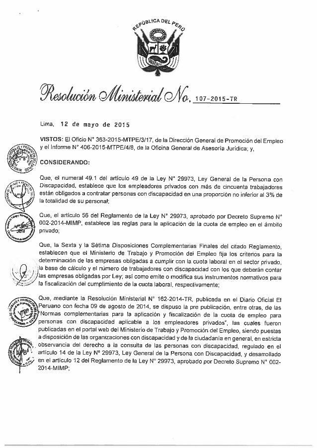 Mintra   rm 107-2015 - normas complementarias para la aplicación y fiscalización del cumplimiento de la cuota de empleo pa...