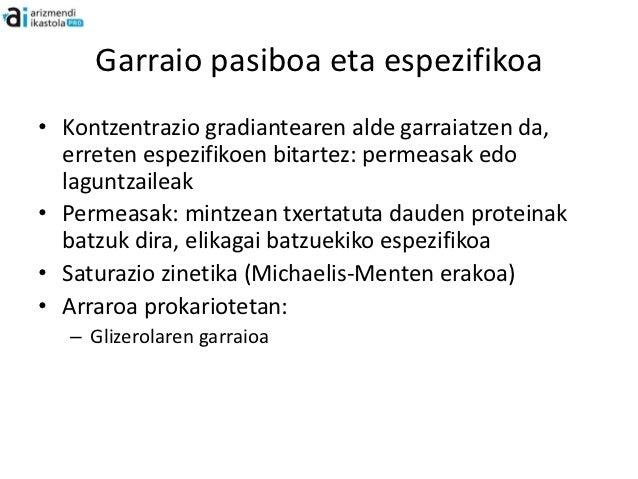 Garraio pasiboa eta espezifikoa• Kontzentrazio gradiantearen alde garraiatzen da,  erreten espezifikoen bitartez: permeasa...