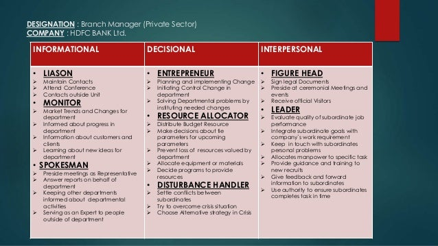 mintzberg decisional roles Mintzberg (1973) in ground-breaking research suggests that managers typically perform ten roles, which he subsumes under key headings: interpersonal, information-handling and decisional roles.