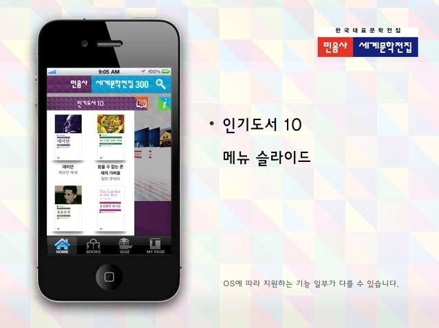 민음사 세계문학전집: 고전 300, 퀴즈 300 앱 기능 소개 Slide 2