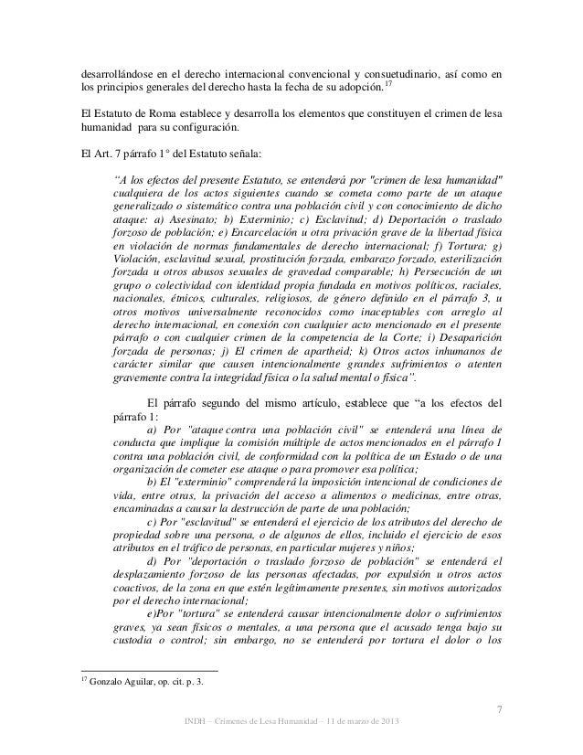 7 INDH – Crímenes de Lesa Humanidad – 11 de marzo de 2013 desarrollándose en el derecho internacional convencional y consu...