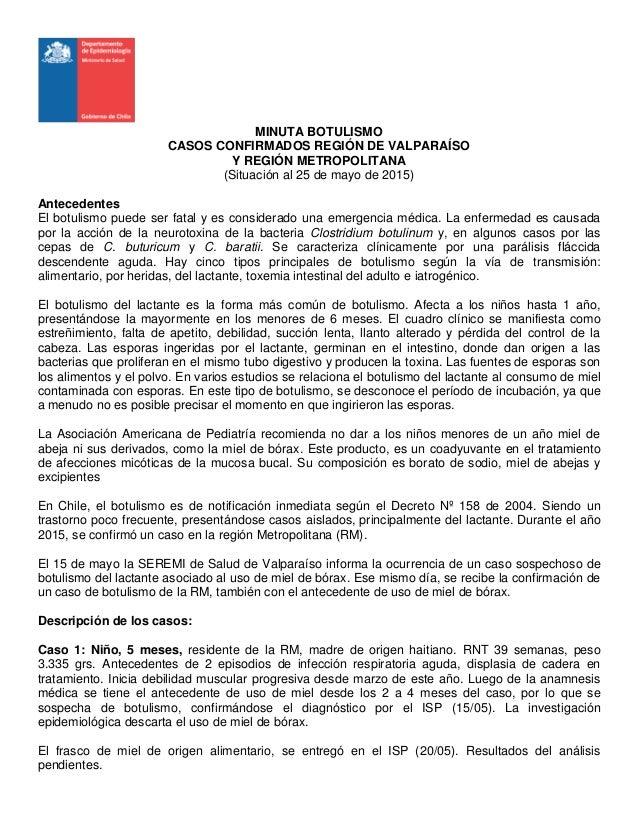 MINUTA BOTULISMO CASOS CONFIRMADOS REGIÓN DE VALPARAÍSO Y REGIÓN METROPOLITANA (Situación al 25 de mayo de 2015) Anteceden...