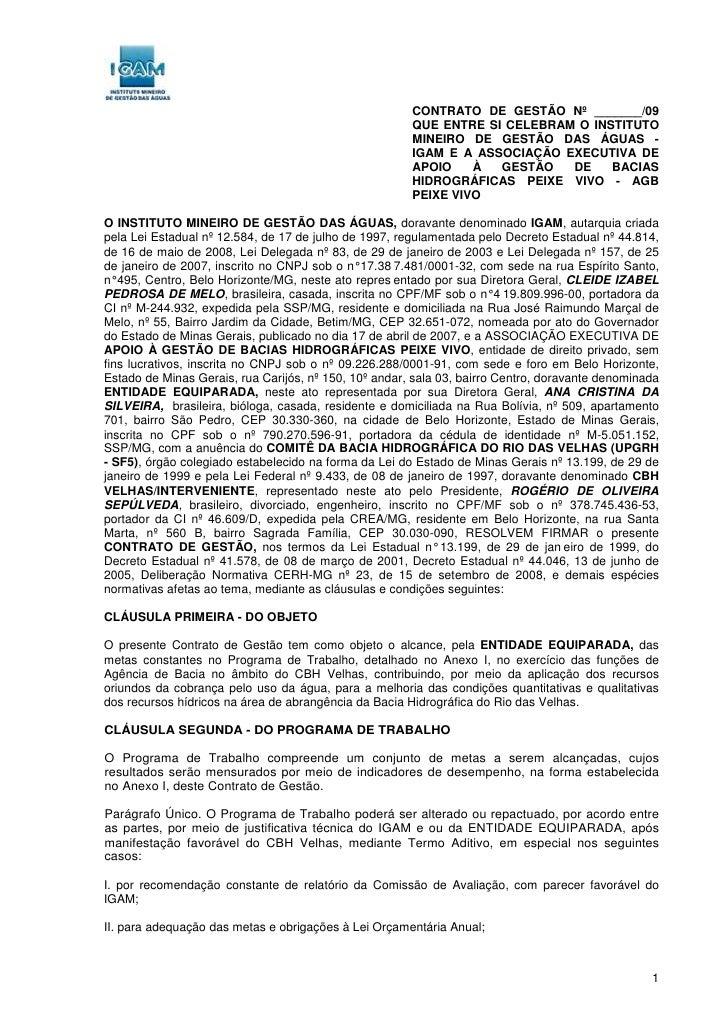 CONTRATO DE GESTÃO Nº _______/09                                                        QUE ENTRE SI CELEBRAM O INSTITUTO ...