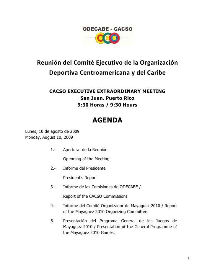 ReunióndelComitéEjecutivodelaOrganización         DeportivaCentroamericanaydelCaribe             C...