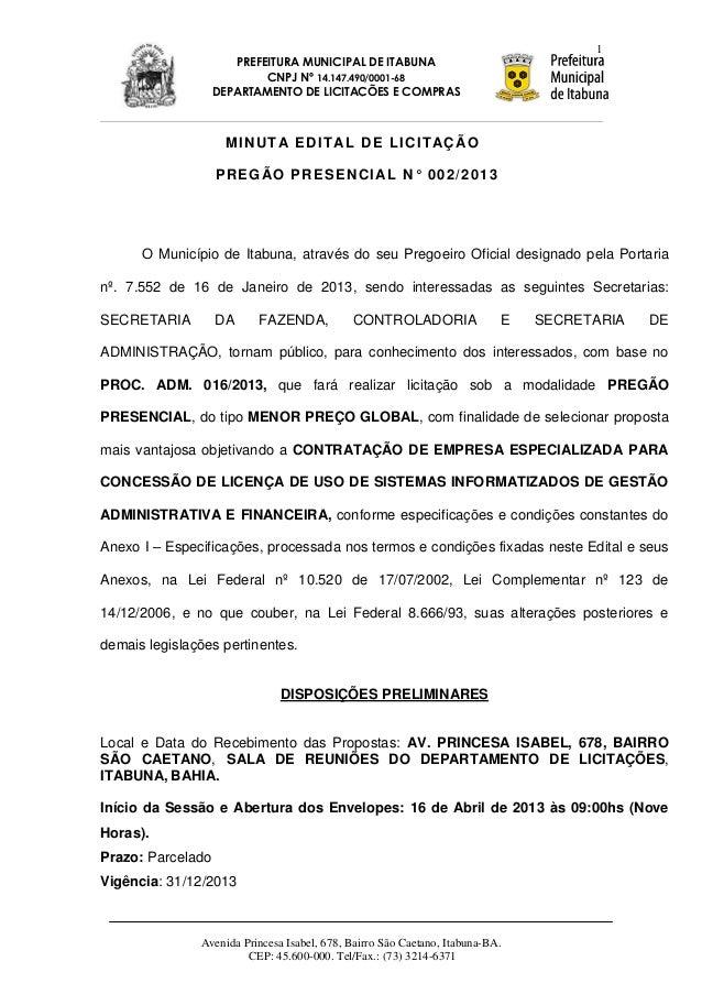 1                      PREFEITURA MUNICIPAL DE ITABUNA                           CNPJ Nº 14.147.490/0001-68               ...