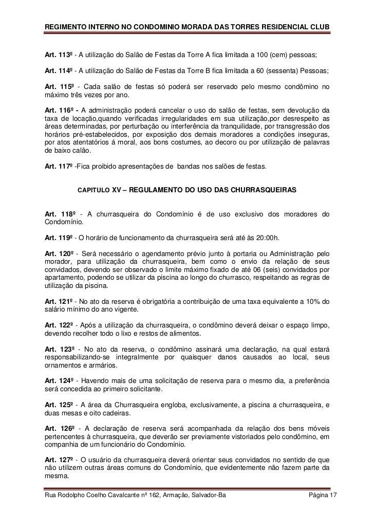 Conhecido Regimento Interno Morada das Torres WE13