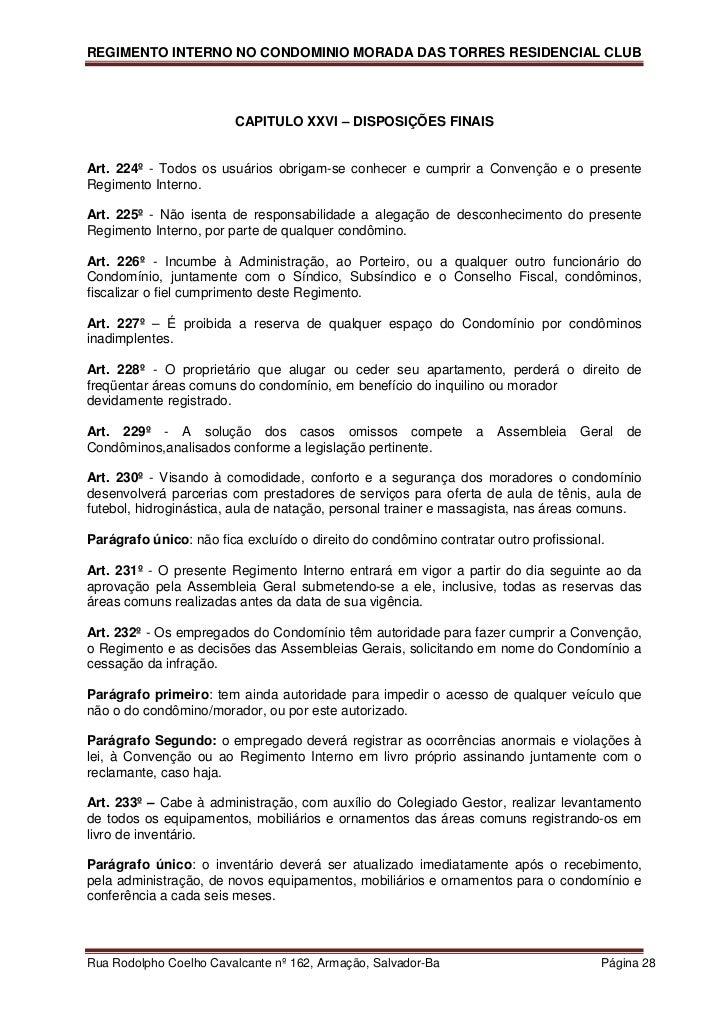 Muito Regimento Interno Morada das Torres XS59