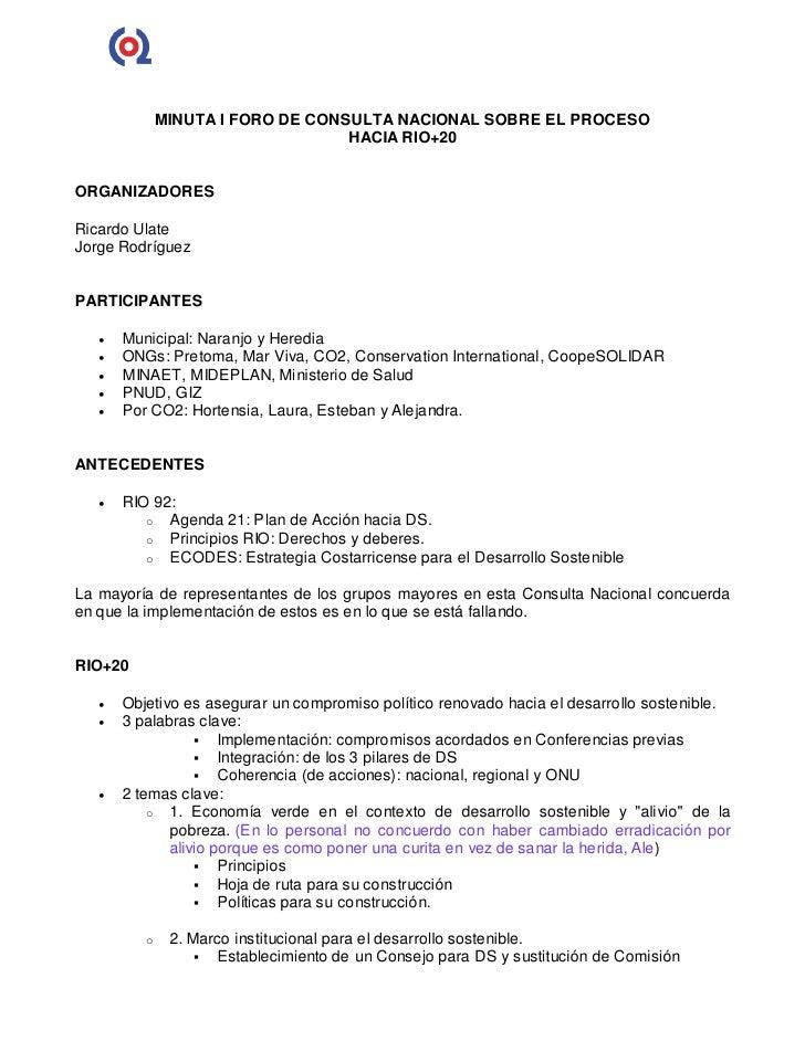 MINUTA I FORO DE CONSULTA NACIONAL SOBRE EL PROCESO                                   HACIA RIO+20ORGANIZADORESRicardo Ula...