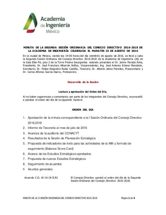 MINUTA DE LA II SESIÓN ORDINARIA DEL CONSEJO DIRECTIVO 2016-2018 Página 1 de 4 MINUTA DE LA SEGUNDA SESIÓN ORDINARIA DEL C...