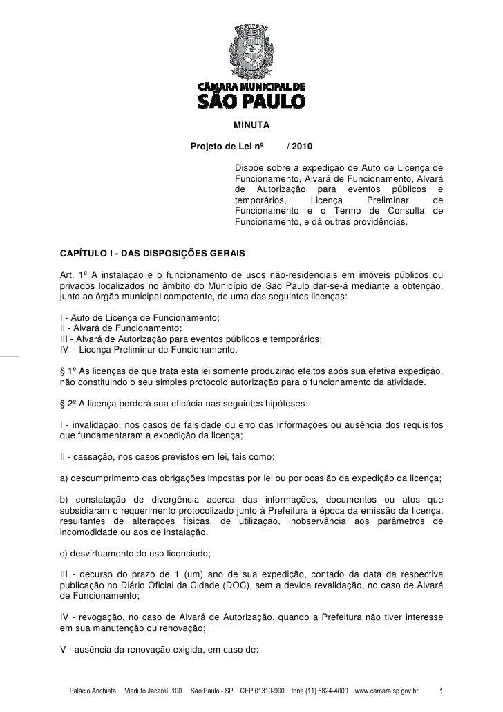 MINUTA                                              Projeto de Lei nº            / 2010                                   ...