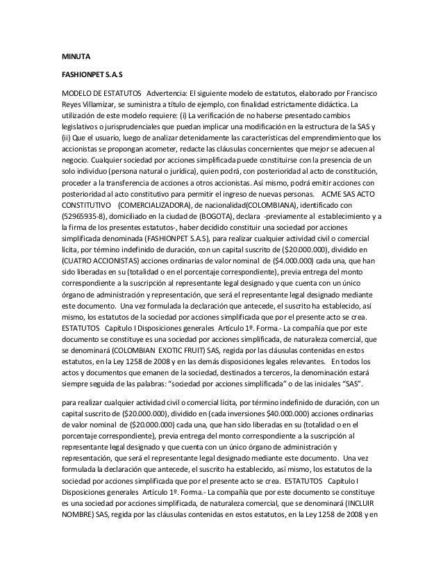 MINUTAFASHIONPET S.A.SMODELO DE ESTATUTOS Advertencia: El siguiente modelo de estatutos, elaborado por FranciscoReyes Vill...