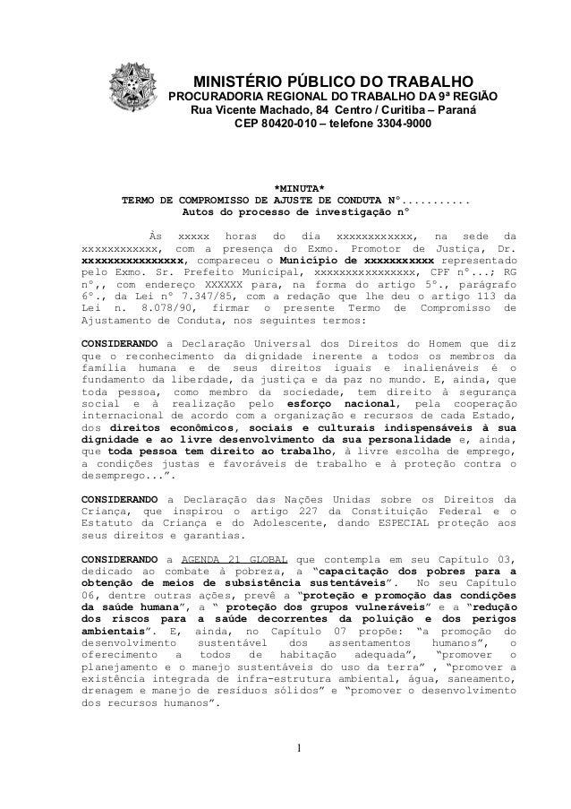 MINISTÉRIO PÚBLICO DO TRABALHO PROCURADORIA REGIONAL DO TRABALHO DA 9ª REGIÃO Rua Vicente Machado, 84 Centro / Curitiba – ...