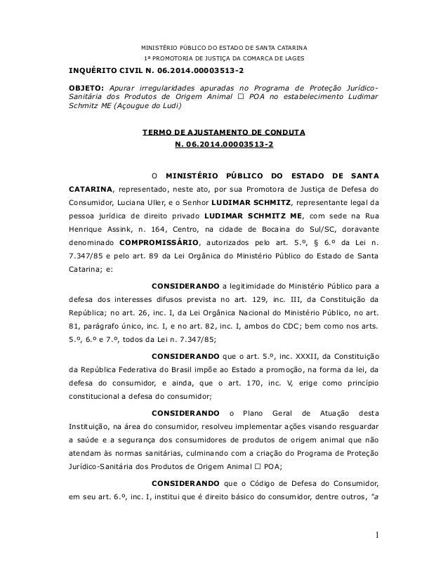MINISTÉRIO PÚBLICO DO ESTADO DE SANTA CATARINA  1ª PROMOTORIA DE JUSTIÇA DA COMARCA DE LAGES  INQUÉRITO CIVIL N. 06.2014.0...