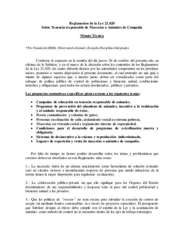 Reglamentos de la Ley 21.020 Sobre Tenencia responsable de Mascotas o Animales de Compañía Minuta Técnica *Por Fundación R...